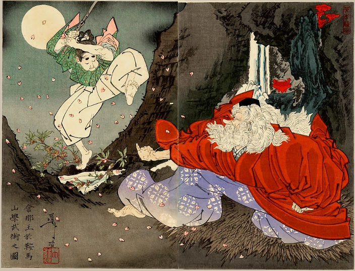 Sojobo instructs Yoshitsune in the Sword by Yoshitoshi Tsukioka