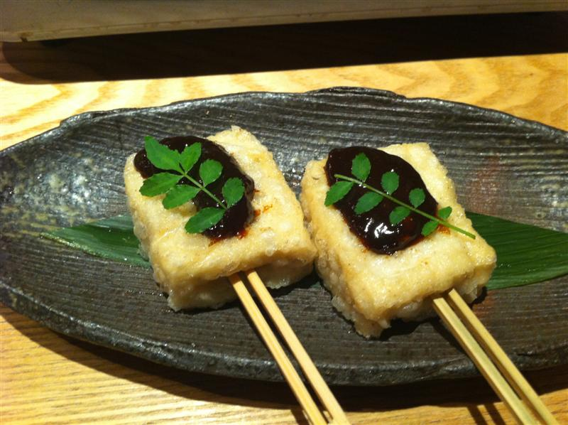 "Soba Tofu no Dengaku (""dengaku"" just means ""grilled on sticks&..."
