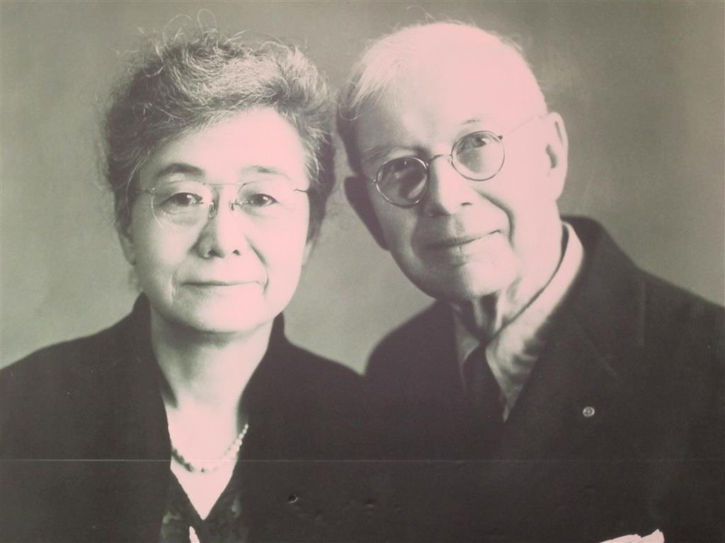 William Merrell Vories and his wife Makiko Hitotsuyanagi. They were together for almost 50 years and certainly seem like a happy and affectionate couple.
