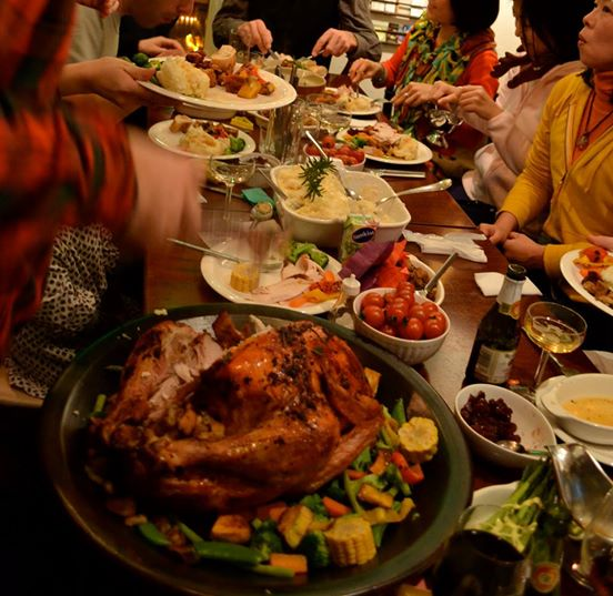 "Tom's Christmas Dinner: ""Roast turkey, stuffing, mountains of mashed potato and lots of fresh veggies Pots of hot gravy, festive soup, and a real traditional Xmas pudding with brandy butter, even a wafer thin mint with your coffee to top it all off when you are just too stuffed to eat another bite."""