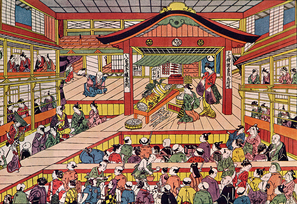 """A Scene from A Play"" by Masanobu Okumura (1686–1764), depicting Edo Ichimura-za theater in the early 1740s - public domain."