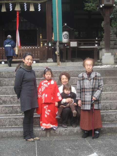 Four generations celebrate shichi-go-san.